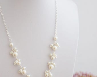 Pearl Cluster Necklace, Ivory Pearl Necklace, Pearl Bridal Jewelry, Statement Necklace, Bridesmaid Gift, Wedding Jewelry, Bridesmaid Jewelry