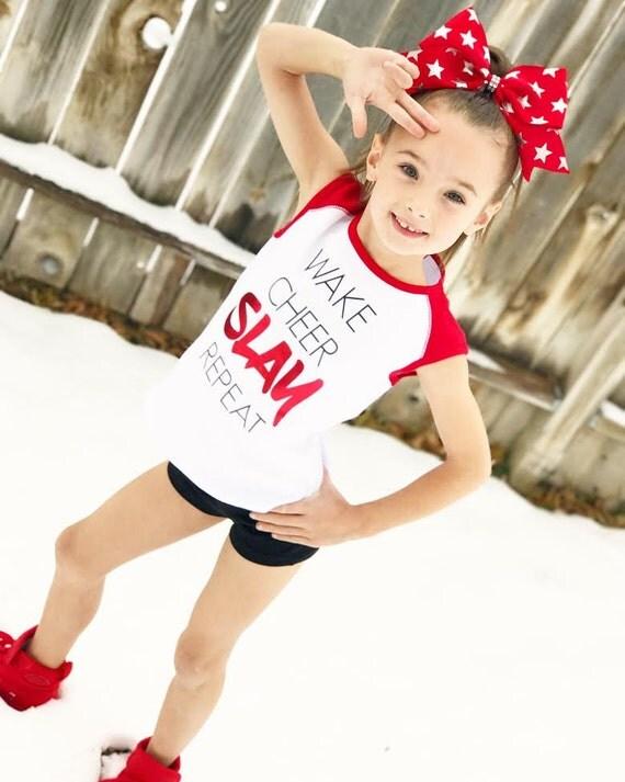New WAKE CHEER SLAY Repeast Tank or Tee- cheer dance gymnast dancewear  girls child woman adult teen christmas flyer cheerleader