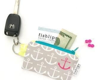 Stocking Stuffer, Anchors Recycled Key-chain Coin Purse, Pink Nautical Mini Zipper Pouch, Ocean Wallet, Beach Handmade Pouch, Teacher  Gift