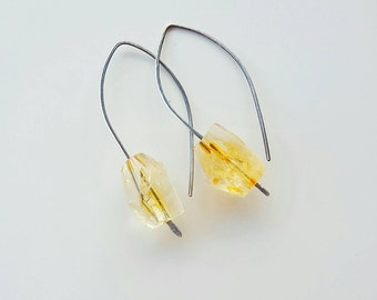 CITRINE Ear Hooks by MOONDROPS /// Handcrafted Oxidized Sterling Silver /// November Birthstone