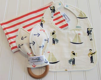 SWEET NATURALS/Organic Line/Newborn Gift Set/Infant Bib, Burp Cloth & Teether/Saltwater(Organic)/Organic Fleece Back