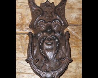 "Green Man / Gargoyle Door Knocker - Vintage Style Cast Iron - 7"" Tall - Heavy w/ Faux Patina"