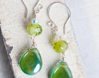 Green Teardrop Earrings, Bright Green, Teardrop Earrings, Green Earrings, Green Silver Earrings, Boho, Bohemian, Boho Chic, Tear Drop