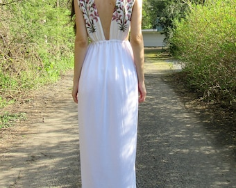 SPRING SALE! wildflower 2 -white organic cotton bamboo paired with floral indian block print ethnic festival hippie wedding boho maxi dress