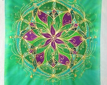heart chakra silk wall hanging, chakra art, mandala art,meditation art, altar art, reiki art, batik wall hanging, spiritual gift, yoga art
