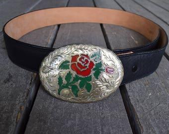 Black Leather Belt with Silver Rose Enamel Buckle 1980s Western Style Tony Lama Belt