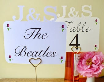 Personalised Wedding Table Names - Wedding Table Numbers - Wedding Table Signs - Table Cards - Ivory - White - Personalized Initials TN01