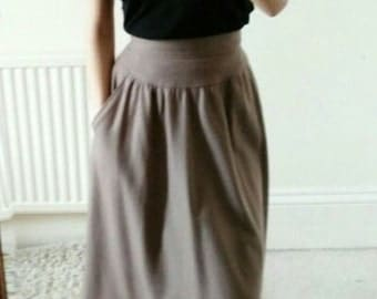 Chic Vintage Mink Wool High Waisted Midi Skirt With Pockets