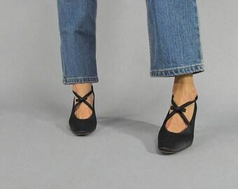 Satin Bow Shoes / Vintage 90s Satin Shoes / Criss-Cross Strap Shoe / Satin Pump Δ size: 6.5