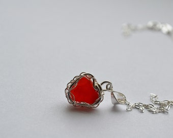 Tiny Red Honeycomb pattern Genuine Sea Glass Hand Knitted Fine Silver Wire Heart Pendant with 18 inch chain Necklace From Greece