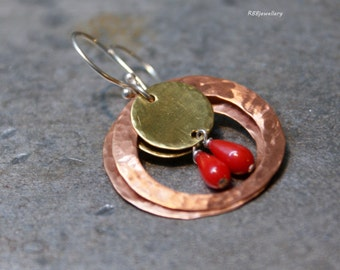 Red Coral Brass Copper Sterling Silver Earrings