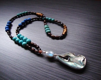 Howlite,coconut shell, wood, abalone and labradorite beaded necklace
