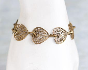 Filigree Hearts Bracelet - Brass Panels with Patina - Antique Jewelry
