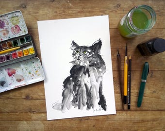 Black Cat Print: Cat Art Print - Small Unframed Print - Watercolour Animal Art - Giclee Fine Art Print - Wall Decor - Cat Painting