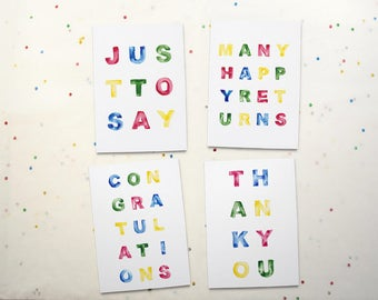 Note Cards Four Pack: Thank you - Congratulations - Just to Say - Many Happy Returns - Hand Lettered Watercolour Text  - Blank Inside