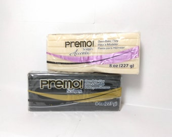 Premo Oven Bake Clay- Black or Translucent- 8 Ounce Bricks