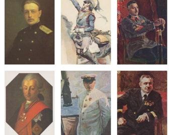 Portraits in a military uniform. Collection / Set of 11 Vintage Prints, Postcards -- 1950s-1980s