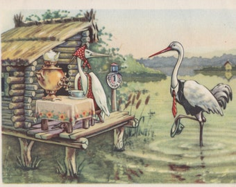 "Postcard Illustration by V. Kuzmin for Russian Folk Tale ""The Crane and The Heron"" -- 1956"