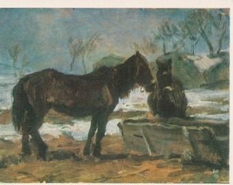 "D. Shmarinov ""Horses"" Print, Postcard -- 1981"