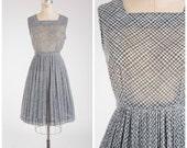 Jahrgang der 1950er Jahre Kleid • gern Allure • Basket Weave Print Voile 50er Jahre Tag Kleidergröße l
