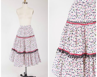 Vintage 50s Skirt • Forty Days • Novelty Print Cotton 50s Skirt with Noah's Arc Print Size Small