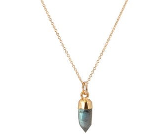 Small Gold Gem Point Necklace, Stone Choice, #6488-yg