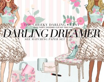 Clipart Digital Pink Mint floral fashion with glitter watercolor png files for Small CU like ...