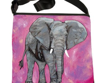 Elephant Large Square Bucket  Handbag by Salvador Kitti -  Support Wildlife Conservation, Read How