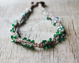 Crochet necklace green beaded jewelry Boho chic Rustic style Hippie Fall fashion Autumn Gift for nature lover Japanese glass beads linen
