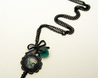 Slytherin House Inspired Gothic Black Key Necklace