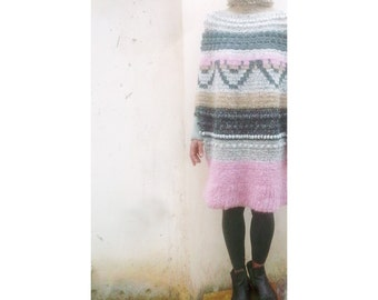 extravagant, oversized, knitted coat - dress - top, handmade