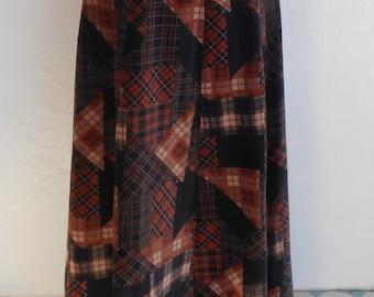 Vintage Maxi Skirt Velvet Patchwork Boho by Century of Boston Size 12