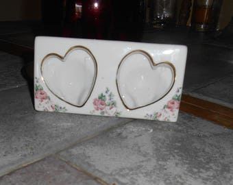 Vintage Picture Frame Porcelain Ceramic Hearts and Flowers