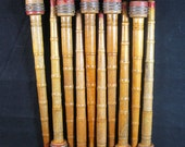 """Vintage Lot of 10 Wooden Spools or Thread Textile Mill Bobbins 10"""" Industrial Primitive Crafts Doll Making Holidays"""