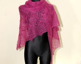 Magenta Hand Knit Lace Shawl, Fuchsia Knit Shawl, Woman Lace Shawl, Luxurious Kid Mohair and Silk Shawl, Water Lily