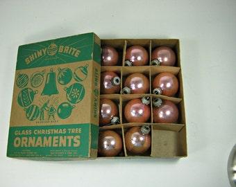 Vintage MERCURY Glass ORNAMENTS Set/11 SHINY BRiTE Pale Pink Christmas Tree Uncle Sam Box