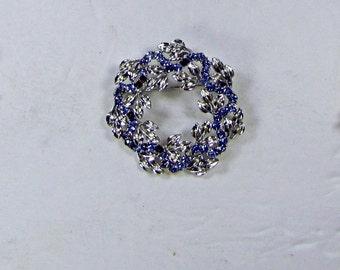 Vintage RHINESTONE WREATH BROOCH Blue Stones Silver Tone Pin Brides Bouquet