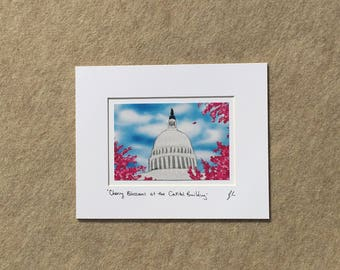 "Small print ""Cherry Blossoms at the Capitol"" YOUR CHOICE of mat color, fits 8x10 inch frame, high quality reproduction print"