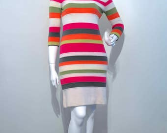 Vintage 1960s MOD DRESS Pure Wool Knit Ringer Stripes Bold Colours // Stewardess Space Age Scooter