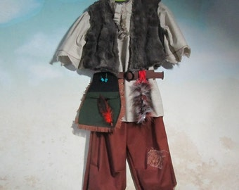 Child's Lost Boy, Peter Pan, Neverland Costume: Tunic, Pants, Lined Vest, Pouch/Belt - All Cotton & Faux Fur - Size 3 to 8, Ready To Ship