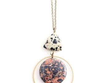 Oak -- double pattern gemstone pendant, natural, boho, minimalist, lightweight, everyday necklace