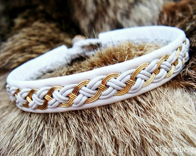 Lapland Sami Bracelet Cuff DRAUPNIR Unisex Viking Jewelry with 14K Gold filled Braid on silksoft White Leather from Tjekijas Design