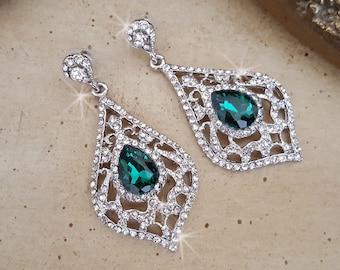 Emerald Chandelier Earrings, Wedding Earrings,  Statement Earrings, Pageant Earrings, Wedding Jewelry, Emerald Earrings,