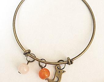 Bronze Bird Bangle - Antique Bronze Bangle - Bird Bangle - Bronze Bangle - Bird Jewelry - Gift For Her - Gift For Bird Lover