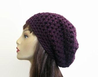 Crochet Slouchy Hat Purple Knit Beanie Purple Slouchy Cap Plum Beret Purple Slouchy Tam Purple Crochet Hat Eggplant Beanie  Puple Knit Tam