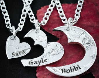 3 Best Friends Heart Necklaces, Custom Names Engraved, Love Necklaces, Best Friends or Family Jewelry