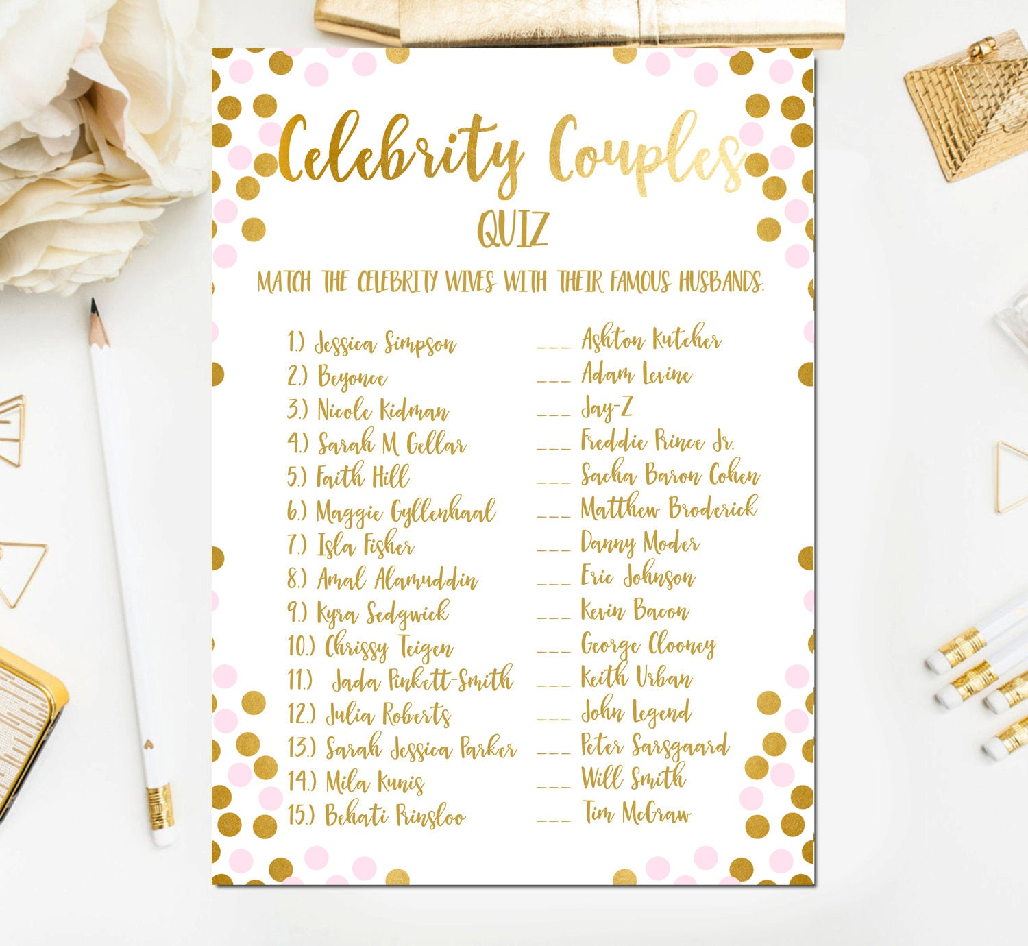 Pink and Gold Foil Bridal Shower Games Celebrity Couples Quiz