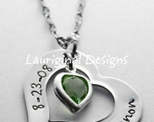Personalized necklace - Name heart necklace - Heart name necklace - Hand stamped heart necklace - Read new info in Photo #3