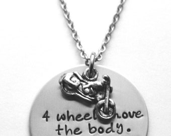 Motorcycle necklace or key ring - Four wheels move the body two wheels move the soul - Cycle necklace - Biker necklace