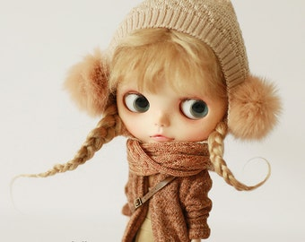 Missyo 2017 Winter & Spring - Knitted Hat Type C for Blythe doll - Beige